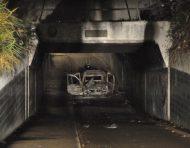 Autobrand in spoortunnel Willenskade Goverwelle
